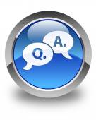 Question answer bubble icon glossy blue round button — Stock Photo