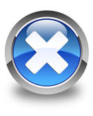 Cancel icon glossy blue round button — Stock Photo