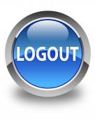 Logout glossy blue round button — Stock Photo