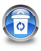 Trash icon glossy blue round button — Stock Photo