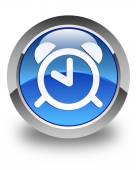 Alarm clock icon glossy blue round button — Stock Photo