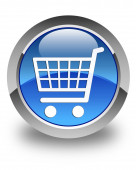 E-commerce icon glossy blue round button — 图库照片