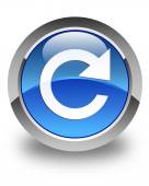 Reply rotate icon glossy blue round button — Stock Photo