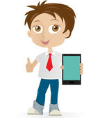 Boy with mobile phone — Stock Vector
