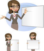 Business woman with board-set — Stock Vector