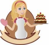 Cooking girl holding cake — Stock Vector