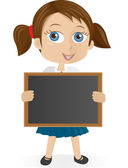 School girl holding blackboard — Stock Vector