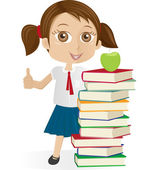 School girl standing by books — Stock Vector