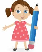 Little girl with big pencil — Stock Vector