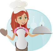 Coking girl — Stock Vector