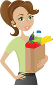Woman holding grocery bag — Stock Vector