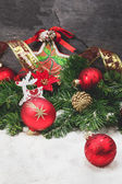 Gold And Red Christmas Decorations — Stock Photo