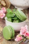 Green tea macarons — Stock Photo
