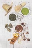 Tea. Three bowls of tea  - powder green tea, red bush tea and green tea — Stock Photo