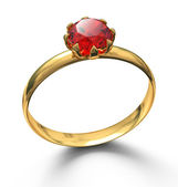 Gold ring with ruby gemstone isolated on white — Stok fotoğraf