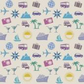 Seamless wallpaper pattern with travel icons — Stock Vector