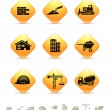 Construction and realty icons on yellow rhombic buttons — Stock Vector #74954185