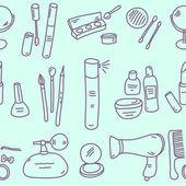 Sketch cosmetics pattern — Stock Vector