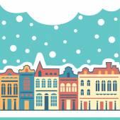 Snow town — Stock Vector