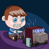 Boy plays video games — Stock Vector