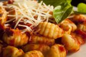 Homemade Italian Gnocchi with Red Sauce — Stock Photo