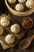 Steamed BBQ Pork Asian Buns — Stock fotografie