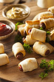 Homemade Pigs in a Blanket — Stock Photo