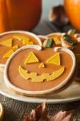 Homemade Jack O'lantern Pumpkin Cookie — Stock Photo