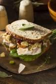 自家製残りの感謝祭のディナーの七面鳥のサンドイッチ — ストック写真