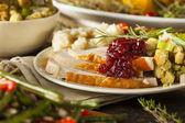 домашняя индейка в день благодарения на пластине — Стоковое фото