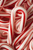 Red and White Mini Candy Canes — Stock Photo
