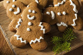 Homemade Decorated Gingerbread Men Cookies — Stock Photo