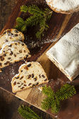 Festive Christmas German Stollen Bread — Stock Photo