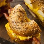 Hearty Breakfast Sandwich on a Bagel — Stock Photo #63005395