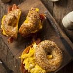 Hearty Breakfast Sandwich on a Bagel — Stock Photo #63005553