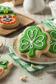 Green Clover St Patricks Day Cookies — Stock Photo