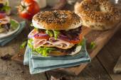 Healthy Turkey Sandwich on a Bagel — Stock Photo