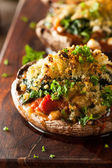 Homemade Baked Stuffed Portabello Mushrooms — Stock Photo