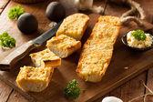 Homemade Cheesy Garlic Bread — Stock Photo