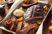 Barbecue Smoked Brisket and Ribs Platter — Stock Photo