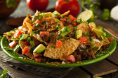 Loaded Beef and Cheese Nachos — Stock Photo