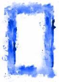 Blue watercolor frame. White inside. — Stock Photo