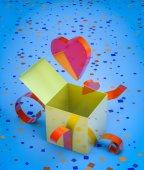Romantic present opening — Stock Photo