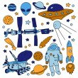 Colorful doodle space elements collection: ISS, moonwalker, planet, comet, moon, astronaut, alien, UFO. Vector illustration — Stock Vector #64895819