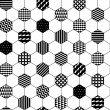 Black and white textured hexagon honeycomb geometric seamless pattern, vector — Vecteur #69627299
