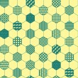 Yellow and green textured hexagon honeycomb geometric seamless pattern, vector — Vecteur #69916665