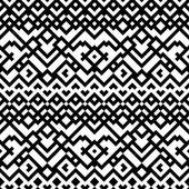 Zwart-wit etnische geometrische mozaïek naadloze patroon, vector — Stockvector