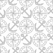 Anchor and compass seamless pattern in shades of gray, vector — Stock Vector #71332259