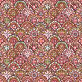 Colorful circle flower mandalas seamless pattern in pink and green, vector — Stock Vector