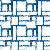 Blauwe en witte abstracte grunge geometrische lattice naadloze patroon, vector — Stockvector